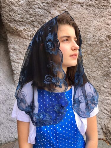 Steel Blue Black Spanish style veils and mantilla church chapel scarf lace ROSE