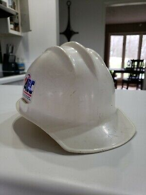 Vintage Ed Bullard Plastic Hard Boiled Hard Hat Iron Worker White With Liner
