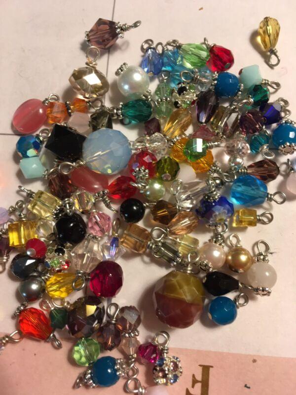 Jewelry Making Lot Of 30 Small Bead Drop Dangle Grab Bag Crystal, Gemstone Glass