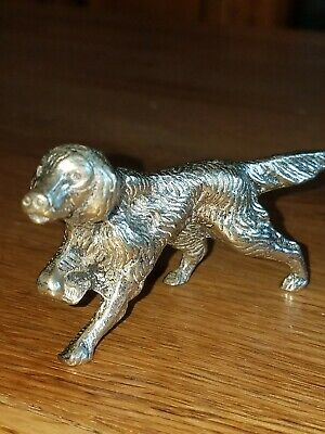Vintage Silver plated Italian Made  Labrador Dog Figurine, Miniature
