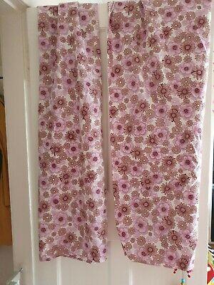 """1970s 70s Floral Flower Power Purple Lilac Curtains 55"""" Drop Retro True Vintage"""