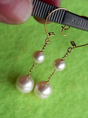 14K Solid Yellow Gold Double Pearl Dangle Drop Cultured Pearl Earrings 14k Double Cultured Pearl Earring