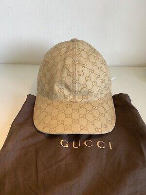 Gucci Beige Monogram Nylon Cap M Authentic