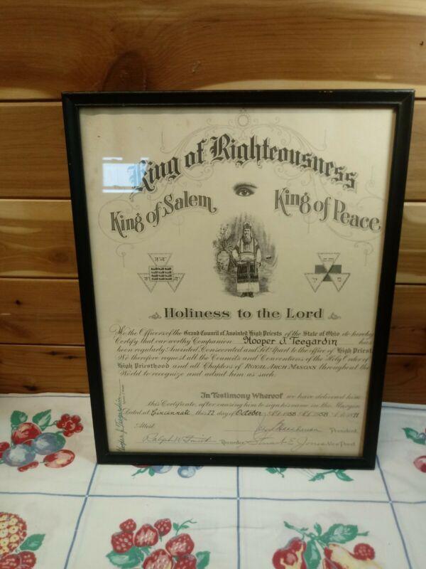 VTG 1958 Certificate/Document of Royal Arch Masons Cincinnati Ohio Freemasonry
