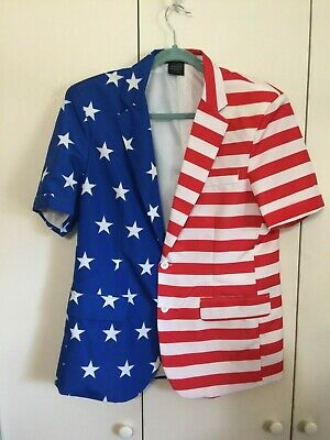 NWOT Suitmeister Men's Med 38-40 Blazer Patriot Stars & Stripes S/S Costume - Star Blazer Kostüm