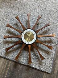 Vintage Forestville Sunburst Starburst Key Wind Wall Clock IT WORKS