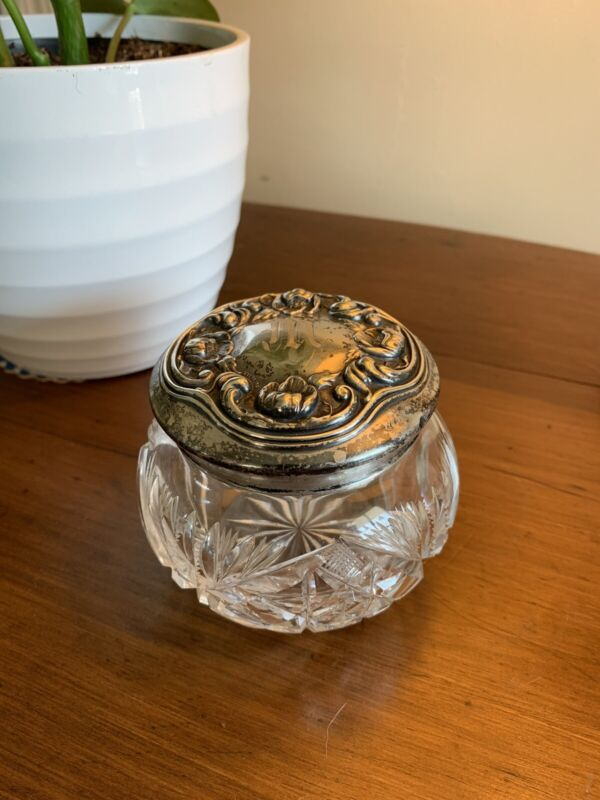 Antique Sterling Lidded Cut Glass Powder Dresser Jar Art Nouveau Poppies Flowers