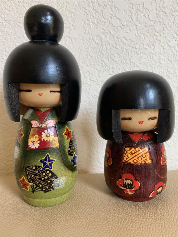 "Lot Of Two JAPANESE KOKESHI WOOD DOLLS  4 1/2""- 6 1/2"" Tall"