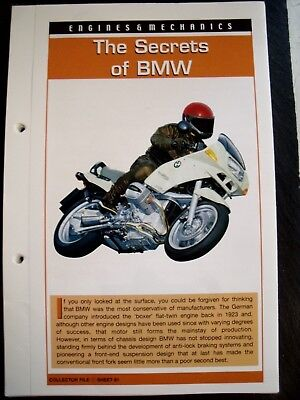 engine & mechanics THE SECRETS OF BMW collector file fact sheet.
