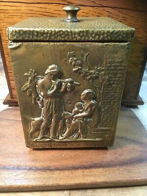 Vintage Brass And Tin Lined Tea Caddy Approx 5.5 X4 Inch