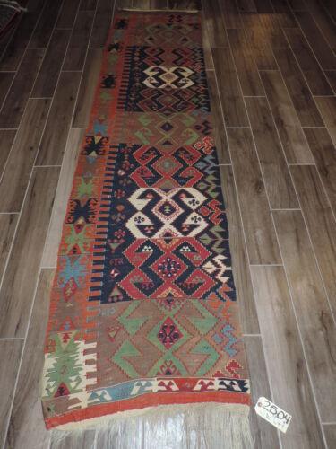 3x10ft. Handmade Vintage Anatolian Wool Reversible Runner