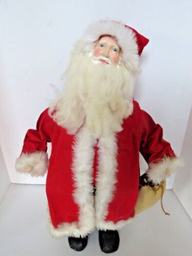 "Large Vintage Paper Mache Spun Cotton Santa Christmas Decoration 21"" Tall  A297"
