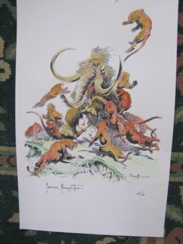 Frank Frazetta--The Mammoth- hand painted art print  Letter H-z