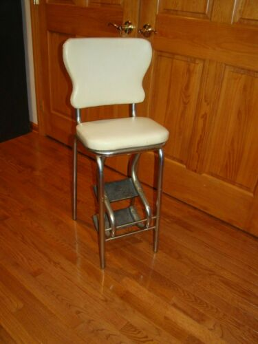 Vintage Kitchen Step Stool Chair W / Retractable Steps & Padded Seat & Backrest