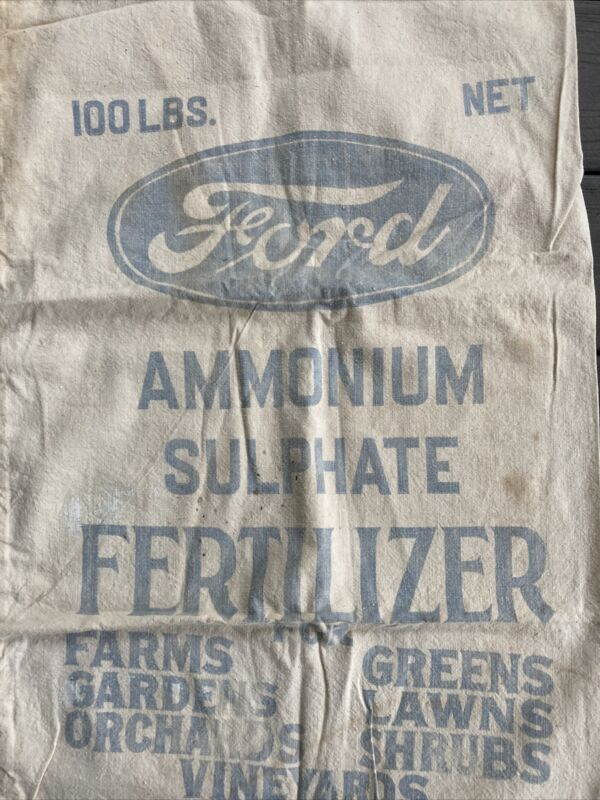 Vintage Ford FERTILIZER 100 Lb empty SACK Ammonium Sulfate fabric bag