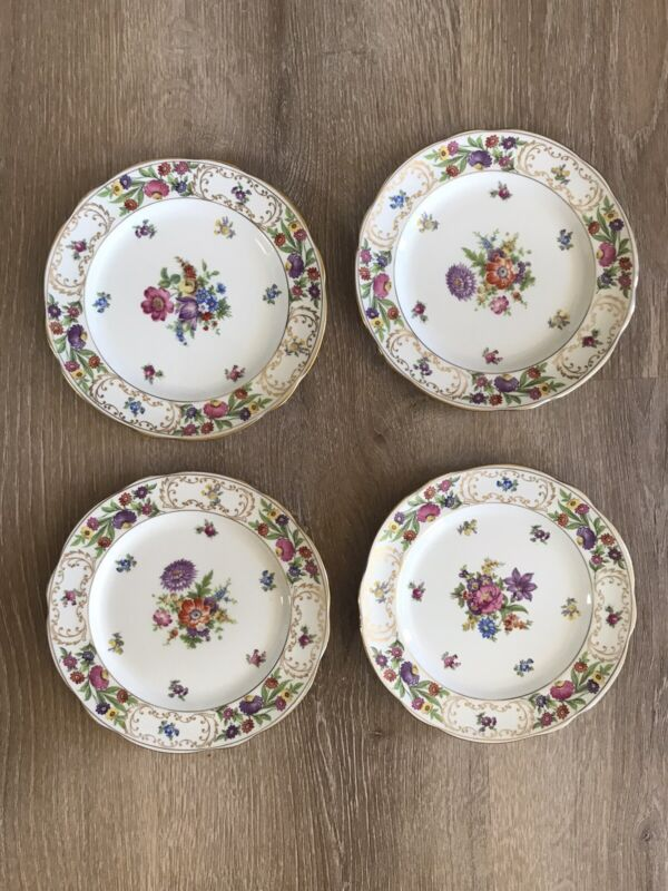 "Hammersley & Co. Bone China England Dresden Sprays Set of 4 Salad 7.25"" Plates"