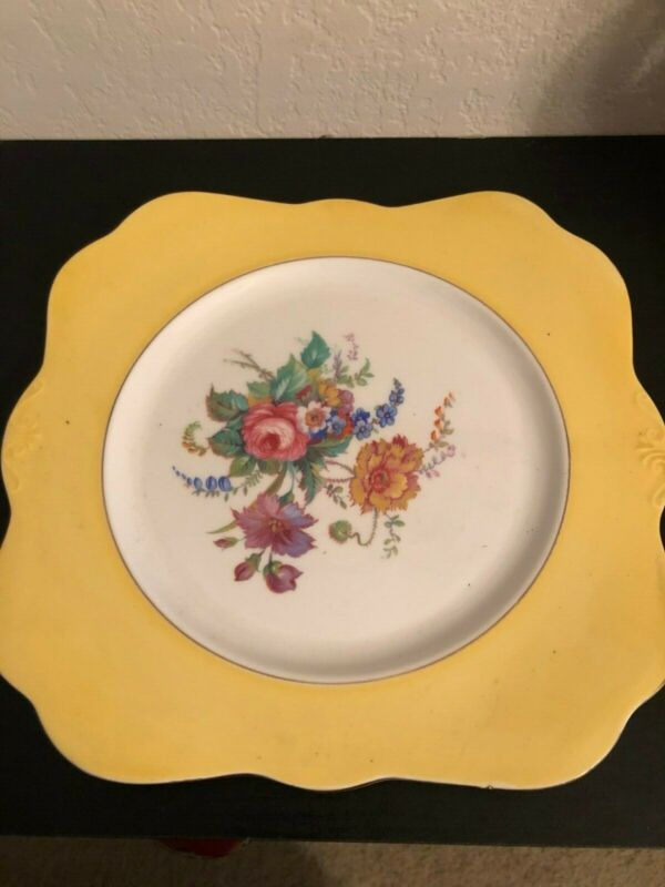 Vintage Colclough China 2 Square Plates Salad Dessert Yellow & Green Floral Cott