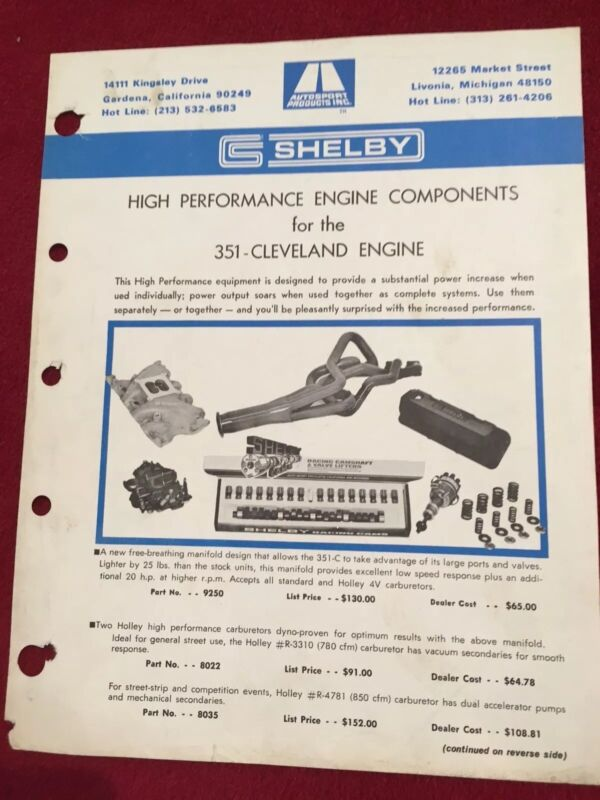 ORIGINAL SHELBY FORD HIGH PERFORMANCE 351 SALES SHEET