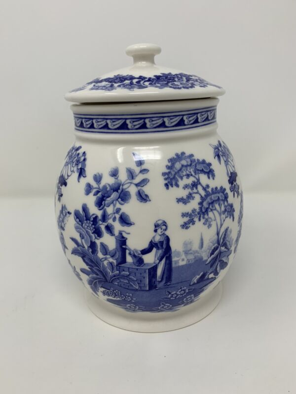 "7"" Spode Blue/White Girl At Well Canister Biscuit Jar L0906 Blue Room Collection"