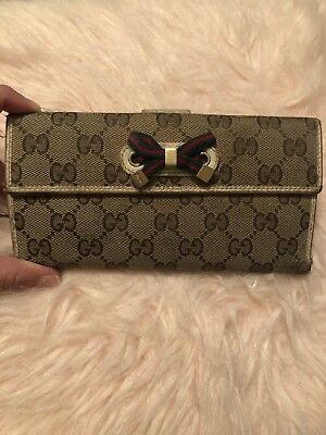 Authentic GUCCI Italian Designer Women's Bifold Wallet With Leather Trim Authentic Designer Wallets