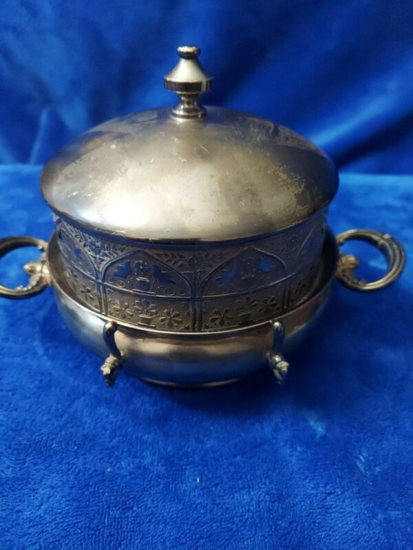 Antique Victorian Hartford 3 pieceSilver Plate Co  dome butter dish pre owned