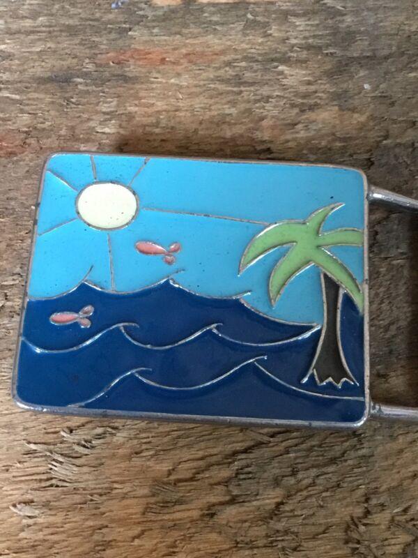 Hand Painted Ocean Scene Belt Buckle