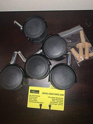 New Caster Wheel Set Of 5 Twin Wheel All Metal Body - Shepard 2 38 Flat Black