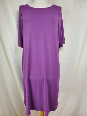 Eileen Fisher A-Line Shift Dress L Viscose Jersey Purple Relaxed Fit Knee Length