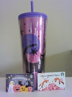 NEW 2020 Starbucks Halloween Black Cat Cold Cup 24oz. Tumbler Purple FAST Ship