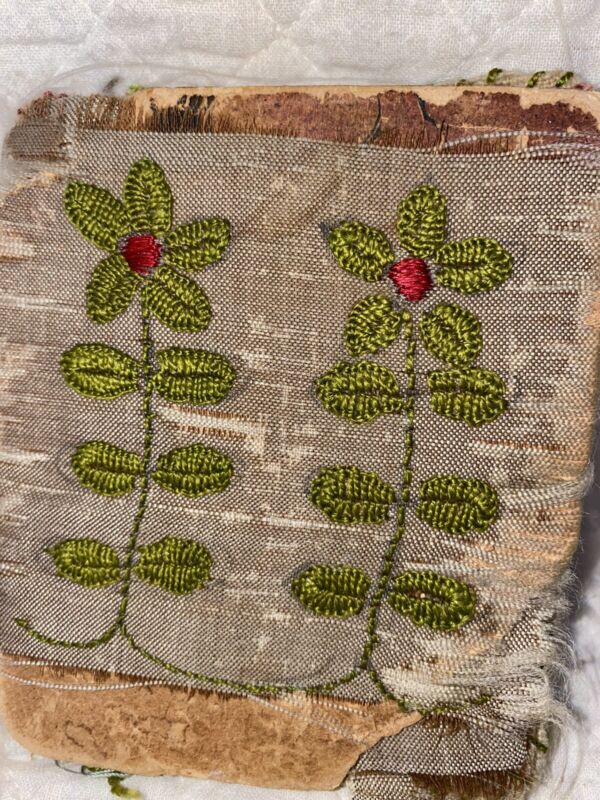 Antique Early Floral Applied Book Pin Keep