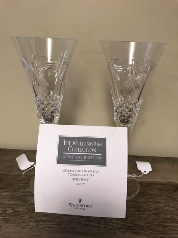 Waterford Crystal MILLENNIUM Champagne PEACE Fifth Toasting Flutes Pair Set/2
