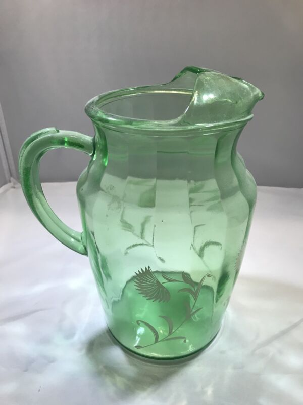 Antique Green Glass Pitcher With Ice Lip (painted flowers)