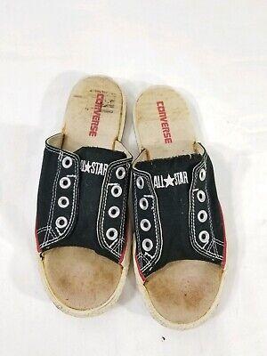 Converse Chuck Taylor All Star Cutaway Slide Black Canvas Slip On Sandal W 8 M 6