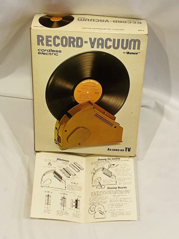 Vtg 1976 Ronco Cordless Electric Record Vacuum Vinyl Cleaner Box & Manual Only