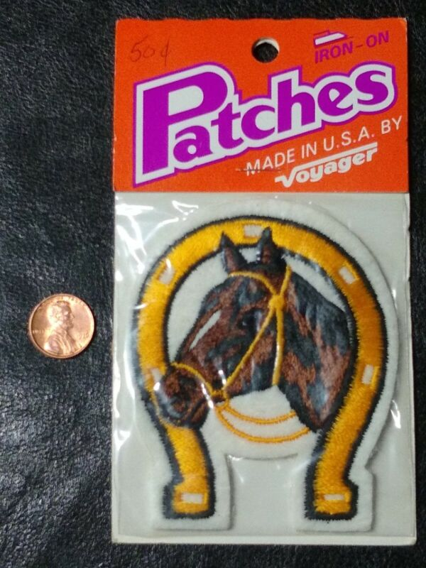 Horse Patch Embroidered Horseshoe Iron-On or Sew on Voyager Made in USA New!