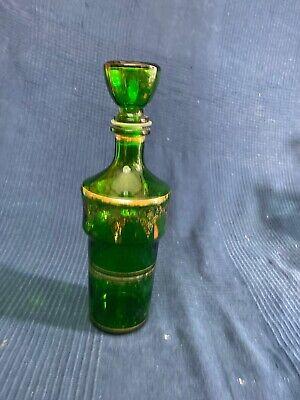 Botella Jarra de Cristal Verde Y Baño de Oro Estilo Luis Vintage...