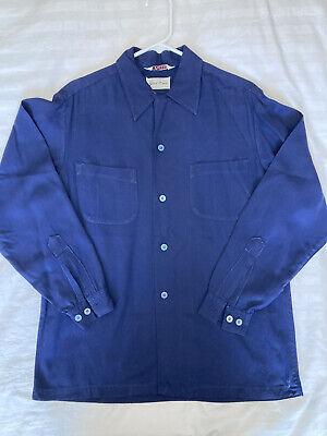 1940s Men's Shirts, Sweaters, Vests 1940s Mens Vintage Stradivari Strad-o-Gab Navy Blue Gabardine Dress Shirt (M) $100.00 AT vintagedancer.com