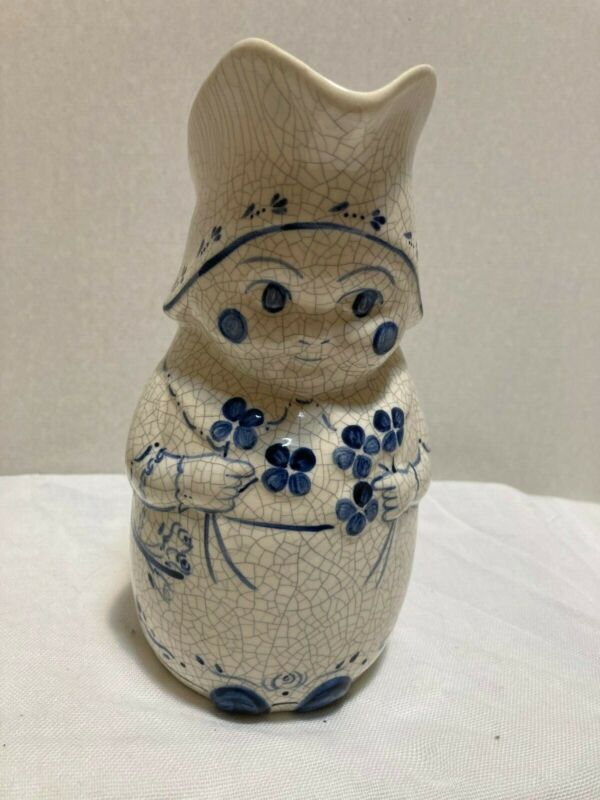 """Dedham Pottery pitcher """"Mrs. Jennings"""" Blue and white 8"""" tall Excellent Cond."""