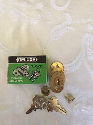Push Plunger Lock Cylinder Solid Brass Finish & 2 Keys - 3 Available Deluxe Plunger Lock