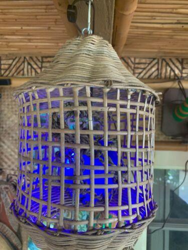 NEW Woven Lantern Lamp with Blue fish float Lamp Light Tiki bar Smokin Tikis