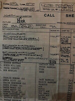 """""""Hook The Movie"""" Call Sheet + 1 Production Envelope"""