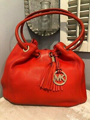 MICHAEL KORS Orange Leather Hobo Purse With Leather Tassels - Medium