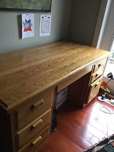 Desk, dining suite, media console, chairs