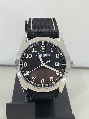 Victorinox men's watch sapphire crystal swiss made 40mm 241584 nylon/leather bnd