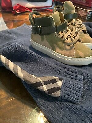 BUSCEMI Camouflage 100MM High Top Sneakers Brand Sz 31 Y FREE BURBERRY SWEATER