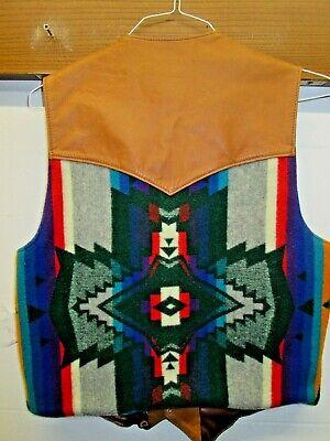 vtg Leather Vest Native Aztec pattern wool Biker Gambler Pendleton?US 44 Western