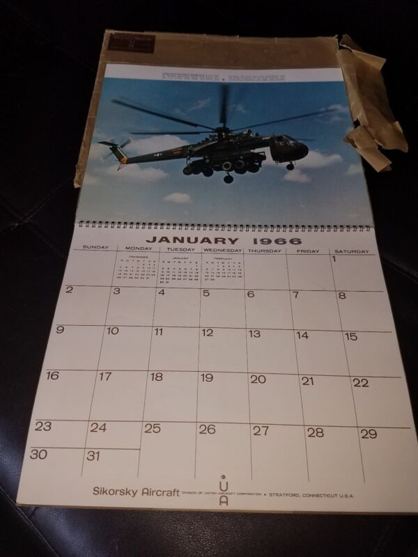 Original 1966 Sikorsky Aircraft Calendar, Vietnam era Helicopter US Navy United