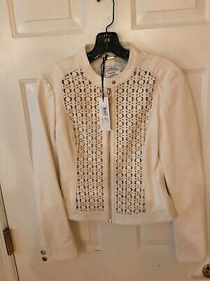 Versace Collection Womens Leather Jacket Ivory Size 40 IT US 4
