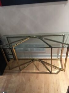 Tempered Glass Bevel Console Hall Table