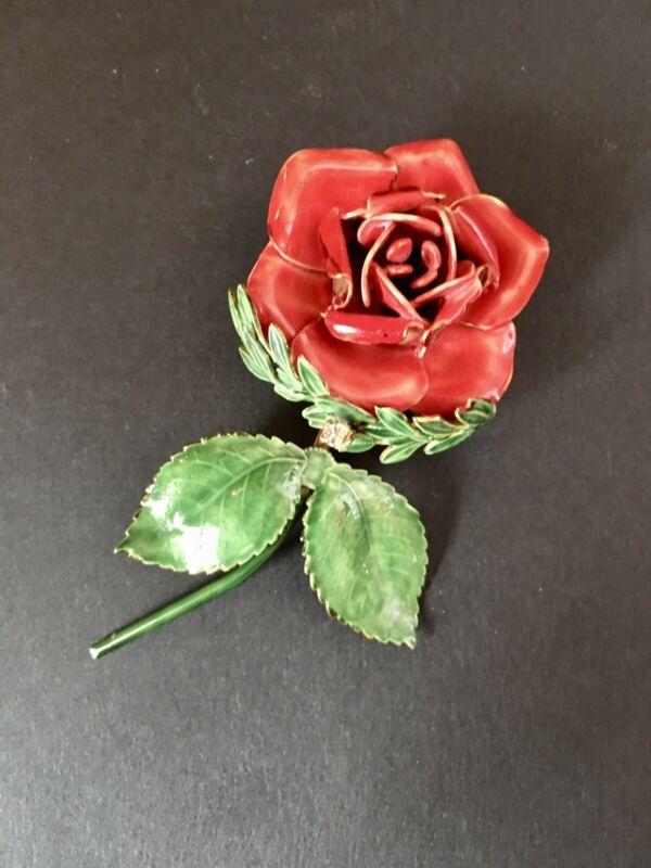 Sandor Brooch Enameled Red Rose Flower Stem Pin Rhinestone